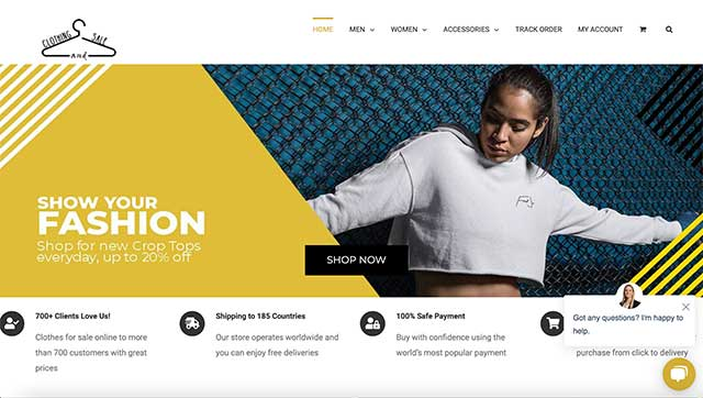 a screen shot of a clothing and sale website